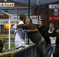 Photo: Mark Stephenson/Sportsbeat Images.<br /> Stockport County v Hereford United. Coca Cola League 2. 17/11/2007.Hereford's Lional Ainsworth celabrtes with fans after his 2ed goal