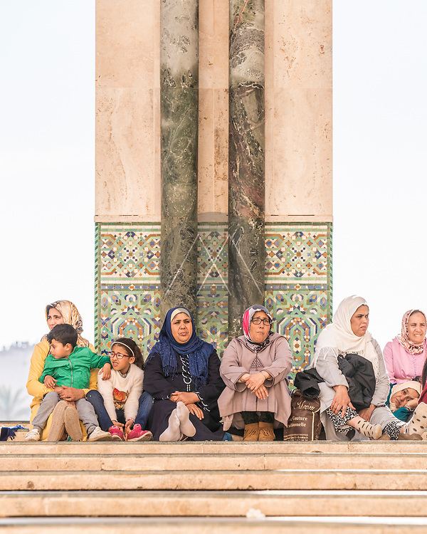 Casablanca, Morocco - 13 January 2019: View of people relaxing at Hassan II muslim mosque in Casablanca, Morocco.