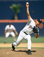 SAN DIEGO - 1992:  Trevor Hoffman of the San Diego Padres pitches during an MLB game at Jack Murphy Stadium in San Diego, California during the 1992 season. (Photo by Ron Vesely).  Subject:   Trevor Hoffman