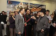 David Furnish, David LaChapelle and Sir Elton John. David la Chapelle VIP party. Barbican. 21 October 2002. © Copyright Photograph by Dafydd Jones 66 Stockwell Park Rd. London SW9 0DA Tel 020 7733 0108 www.dafjones.com