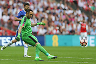 Arsenal goalkeeper David Ospina(13) kicks the ball forward during the The FA Cup final match between Arsenal and Chelsea at Wembley Stadium, London, England on 27 May 2017. Photo by Shane Healey.