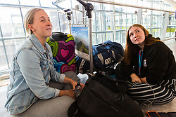 Returning from Bordeaux after visiting friend, Scots teenagers Rosie Wilson, left and Alison McCall await alternative flight arrangements at Terminal 5 at Heathrow Airport after an IT glitch brings British Airways systems to a halt, causing disruption to thousands of passengers with flights cancelled and delayed. London, August 07 2019.