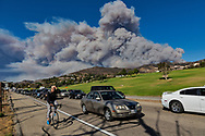 TRANCAS, CALIFORNIA - NOVEMBER 9<br /> The Woolsey fire burns through the coastal communities of Trancas and Zuma Beach burning homes displacing the community. High wind and low humidity quickly spread the fire.