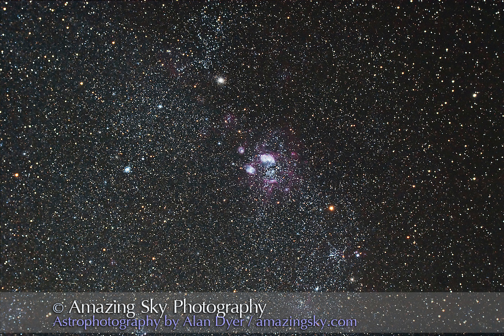 NGC 1763 LMC Lagoon area in Large Magellanic Cloud with 4-inch Astro-Physics refractor at f/4.5 with compressor/field flattener and with APS-frame size Canon 20Da camera at ISO400 for stack of 4 x 10 minute exposures. Shot from Coonabarabran, Australia, March 23, 2007.
