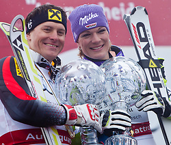 19.03.2011, Pista Silvano Beltrametti, Lenzerheide, SUI, FIS Ski Worldcup, Finale, Lenzerheide, PODIUM, im Bild Gesamtweltcup Sieger, Ivica Kostelic (CRO) und Gesamtweltcup Siegerin, Damen, Maria Riesch (GER) // Overall Weltcup Winner, Men, Ivica Kostelic (CRO) and Overall Weltcup Winner, Women, Maria Riesch (GER) during Podium, at Pista Silvano Beltrametti, in Lenzerheide, Switzerland, 19/03/2011, EXPA Pictures © 2011, PhotoCredit: EXPA/ J. Feichter