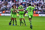 Forest Green Rovers players celebrate at the final whistle during the Vanarama National League Play Off Final match between Tranmere Rovers and Forest Green Rovers at Wembley Stadium, London, England on 14 May 2017. Photo by Adam Rivers.