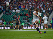 England fly-half Danny Cipriani (Sale Sharks) kicks a conversion during the International Rugby Union match England XV -V- Barbarians at Twickenham Stadium, London, Greater London, England on May  31  2015. (Steve Flynn/Image of Sport)