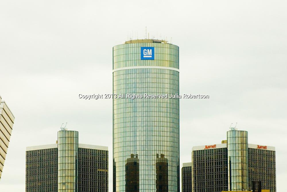 View of the General Motors Corporate headquarters in Detroit Michigan