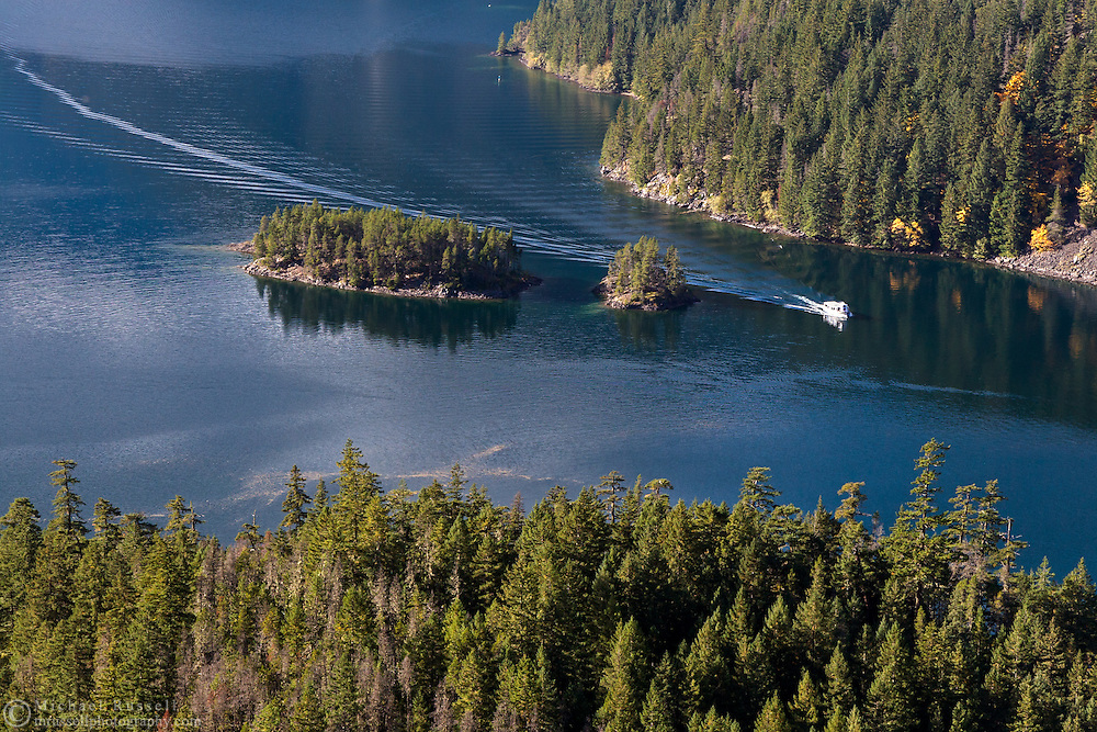 The Diablo Lake tour boat Cascadian heading east on Diablo Lake in North Cascades National Park, Washington State, USA