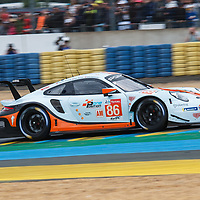 #86, Gulf Racing, Porsche 911 RSR, LMGTE Am, driven by: Michael Wainwright, Ben Barker, Thomas Preining on 15/06/2019 at the Le Mans 24H 2019