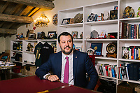 ROME, ITALY - 5 FEBRUARY 2020:  Senator Matteo Salvini, former Interior Minister of Italy and leader of the far-right League party, poses for a portrait in his office in Rome, Italy, on February 5th 2020.