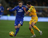 Rhys Healey of Cardiff city (l) is challenged by Greg Cunningham of Preston North End. EFL Skybet championship match, Cardiff city v Preston North End at the Cardiff city stadium in Cardiff, South Wales on Friday 29th December 2017.<br /> pic by Andrew Orchard, Andrew Orchard sports photography.
