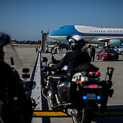 President Trump arrives in Los Angeles to attend a funraiser event in Beverly Hills.