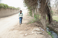 Lima, Peru. Jicamarca. Teresa Sedano Unocc along the streets of Jicamarca that the site of the project Senza Frontiere come to his house