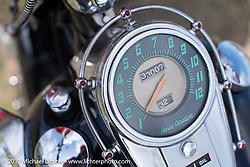 Harley-Davidson Panhead speedometer detail taken at the AMCA (Antique Motorcycle Club of America) Sunshine Chapter National Meet in New Smyrna Beach during Daytona Beach Bike Week. FL. USA. Saturday March 11, 2017. Photography ©2017 Michael Lichter.