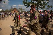 London, UK. Thursday 9th August 2012. London 2012 Olympic Games Park in Stratford. British army on duty to cover the shortfall in security.