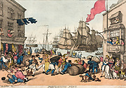 Portsmouth Point 1814 Thomas Rowlandson (British, 1756-1827) England, 19th century Etching, hand colored