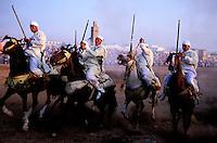 Maroc, Region de El Jadida, Fantasia pour le moussem de Moulay Abdalah // Morocco, El Jadida, Fantasia at the moussem (festival) of Moulay Abdalah