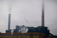 Ledvice Power station  in heavy clouds, Czech Republic