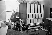 """29/04/1962<br /> 04/29/1962<br /> 29 April 1962<br /> Farm machinery at the R.D.S. Spring Show, Ballsbridge Dublin, feature with Julian Bayley for Farming Express. Image shows a """"Kenway"""" Dryer."""