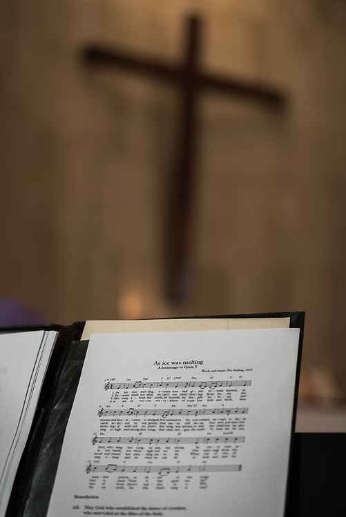 8 December 2019, Madrid, Spain: 'As Ice was Melting - A hommage to Greta T' is being played, as Christians from around the globe gather with local congregants in the Iglesia de Jesús in central Madrid, to celebrate an ecumenical prayer service during COP25.