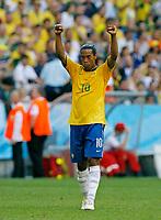 Photo: Glyn Thomas.<br />Brazil v Australia. Group F, FIFA World Cup 2006. 18/06/2006.<br /> Brazil's Ronaldinho celebrates his team's 2-0 win.