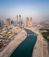 Aerial view of Dubai canal and Skyscrapers in U.A.E.