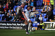 Tranmere Rovers' Jean-Louis Akpa Akpro takes on Carlisle United's Sean O'Hanlon. Skybet football league 1 match, Tranmere Rovers v Carlisle United at Prenton Park in Birkenhead, England on Saturday 29th March 2014.pic by Chris Stading, Andrew Orchard sports photography.
