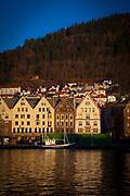 Fishing boat, Bryggen waterfront in Bergen, Norway
