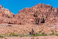 Bedouin man on donkey, Petra Archaeological Park (a UNESCO World Heritage Site), Petra, Jordan.