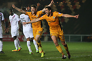 Ben Tozer of Newport county (r) celebrates after he scores his teams 1st goal.  EFL Skybet football league two match, Newport county v Barnet at Rodney Parade in Newport, South Wales on Tuesday 25th October 2016.<br /> pic by Ryan Hiscott, Andrew Orchard sports photography.