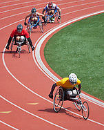 West Point, New York - Army's Matthew Spang, right, takes the lead in the wheelchair 1,500-meter race at the 2014 Army Warrior Trials at the United States Military Academy Preparatory School on Tuesday, June 17, 2014.<br /> Hosted by the U.S. Army Warrior Transition Command (WTC), the trials determine which athletes will compete at the 2014 Warrior Games this fall in Colorado Springs, Colorado.