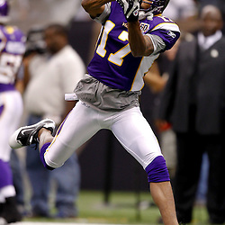 September 9, 2010; New Orleans, LA, USA; Minnesota Vikings wide receiver Greg Lewis (17) during warm ups prior to kickoff of the NFL Kickoff season opener at the Louisiana Superdome. The New Orleans Saints defeated the Minnesota Vikings 14-9.  Mandatory Credit: Derick E. Hingle