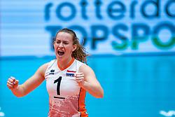 Kim Klein Lankhorst of Netherlands celebrate during United States - Netherlands, FIVB U20 Women's World Championship on July 15, 2021 in Rotterdam