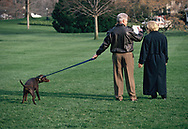President Bill Clinton and First Lady Hillary Rodham Clinton and their new  dog Buddy on the South Lawn of the White House.<br /> Photo by Dennis Brack