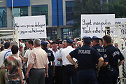Mitrovica {southern side}, Kosovo<br /> Friday, July 4, 2008<br /> <br /> Cheering we want green no gassing, into the Southern Mitrovica some hundreds of Kosovo Albanians begin their demonstration against imparking of toxic scows, these scows are restrained with the Disulphide acid.<br /> Partakers of this peacefully protest also were and the Albanian religious community both Christians and Muslims.<br /> <br /> Demonstratorís requests were: Immediately Expatriation of the toxic scows from Kosovo and than all time under the civil society monitoring rolls...<br /> Their watchwords of the protest were: ì9 Year juggler and now desolatedî, ìFrom North is exiling, and into the Southern weíre desolatedî, in 1990 desolate to us Serbia ñ 2008 the Governmentî est..!<br /> <br /> PICTURED: The protestors<br /> VEDAT Xhymshiti / ZUMA Press