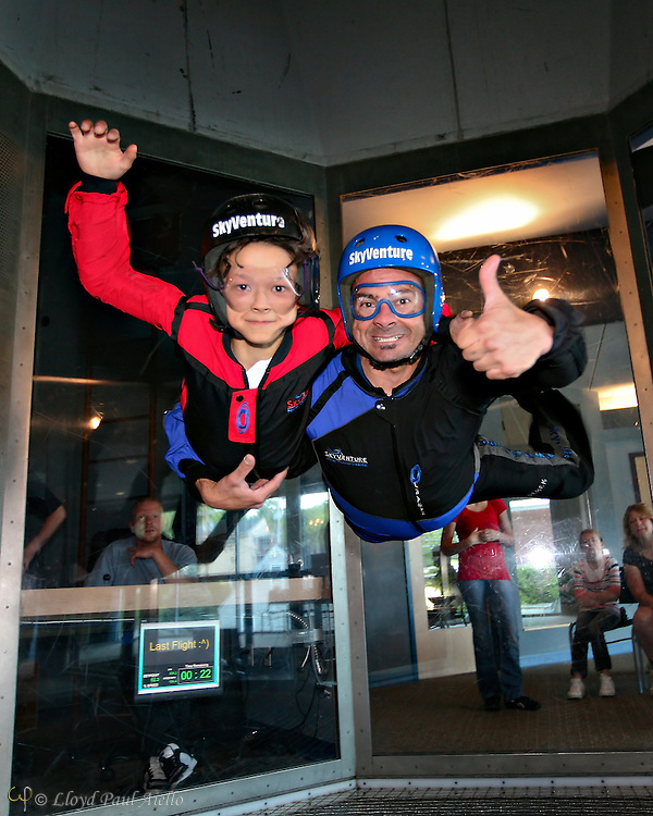 """LB (age 9) """"Skydiving"""" with the instructor in the wind tunnel, Sky Ventures, Nashua, New Hampshire."""