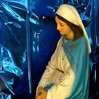 Americas, Mexico, Baja California Sur, Loreto. Christmas scene of the Nativity at the Jesuit Mission of Our Lady of Loreto, the oldest and first of the California missions, established 1697.