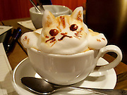 """The first 3D latte art in the world<br /> <br /> 3D printer, 3D movie, and,,, next comes 3D Latte Art!!!<br /> 3D latte art is an art style where the artist uses whipped cream to decorate coffee cups with all sorts of shapes and designs. They say it was invented and spread throughout the world by Barista Kazuki Yamamoto. Yamamoto's work encompasses a wide range of designs, from animals to popular characters. The Cat and Rabbit that he made during our interview with him were so adorable that we hesitated to drink them. We went to the cafe that Yamamoto manages, called """"Reissue,"""" in Harajuku, to see what 3D Latte Art is like in person.<br /> ©Exclusivepix Media"""