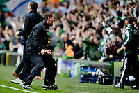 19/08/15 UEFA CHAMPIONS LEAGUE PLAY-OFF 1ST LEG<br /> CELTIC V MALMO<br /> CELTIC PARK - GLASGOW<br /> Celtic manager Ronny Deila celebrates in the dugout.