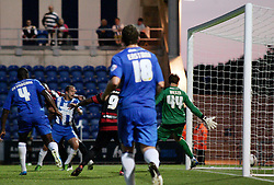 Peterborough United's Tyrone Barnett scores the second goal  - Photo mandatory by-line: Joe Dent/JMP - Tel: Mobile: 07966 386802 06/08/2013 - SPORT - FOOTBALL - Weston Homes Community Stadium - Colchester -  Colchester United V Peterborough United - Capital One Cup - First Round