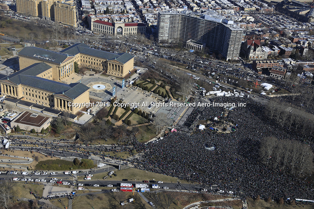 Aerial view of the 2018 SUPER BOWL PARADE AT THE PHILADELPHIA MUSEUM OF ART