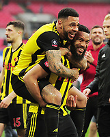 Football - 2018 / 2019 Emirates FA Cup - Semi-Final: Wolverhampton Wanderers vs. Watford<br /> <br /> Adam Mariappa and Andre Gray of Watford celebrate after the match, at Wembley Stadium.<br /> <br /> COLORSPORT/ANDREW COWIE