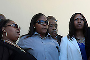 June 30, 2012, Los Angeles, CA: Daughters of Rodney King-(L-R) Candice King, Tristain King, Dene King along with Rev. Al Sharpton, President, National Action Network attend the Rodney King Funeral held at Forest Lawn Cemetery at Hall Liberty on June 30, 2012 in Los Angeles, California. Rodney Glen King was an American construction worker who became well known after being beaten harshly by Los Angeles police officers during a traffic stop on 3 March 1991. The non-gulity verdict of accused Police Officers ignited the LA Riots in 1992. (Photo by Terrence Jennings)