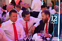 CARDIFF, WALES - Wednesday, June 1, 2016: Wales' David Weeks, Ryland Morgans and Jamie Benito Plans during charity send-off gala dinner at the Vale Resort Hotel ahead of the UEFA Euro 2016. (Pic by David Rawcliffe/Propaganda)