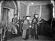 Cardinal Spellman receives Honorary Degree from National University of Ireland at Iveagh House, Dublin<br /> 28/10/1953  <br /> <br /> Francis Joseph, Cardinal Spellman (04/05/1889—02/12/1967) was an American prelate of the Roman Catholic Church. He was the sixth Archbishop of New York from 1939 to 1967, having previously served as an auxiliary bishop of the Archdiocese of Boston (1932–39). He was created a cardinal in 1946.<br /> <br /> Francis Spellman was born in Whitman, Massachusetts, to William and Ellen (née Conway) Spellman. His father (1858–1957), whose own parents had immigrated to the United States from Clonmel and Leighlinbridge in Ireland, worked in shoemaking before becoming a grocer. The eldest of five children, Francis had two brothers, Martin and John, and two sisters, Marian and Helene.