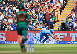 Bangladesh's Mahmudullah is dropped by India's Ravichandran Ashwin at the boundry rope during the ICC Champions Trophy, semi-final match at Edgbaston, Birmingham.