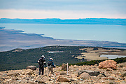 """Lago Viedma, seen from """"Loma del Pliegue Tumbado"""" trail in Los Glaciares National Park, above El Chalten, in Santa Cruz Province, Argentina, Patagonia, South America. From El Chalten, we hiked to Mirador """"Loma del Pliegue Tumbado"""" (""""hill of the collapsed fold""""), 19 km (11.9 mi) with 1170 meters (3860 ft) cumulative gain in Los Glaciares National Park. El Chalten mountain resort is 220 km north of El Calafate. Los Glaciares National Park and Reserve are honored on UNESCO's World Heritage List."""