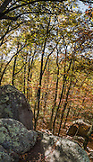 Indian Rocks, fall foliage color in mid October. Walk 0.3 miles to the impressive boulders of Indian Rocks from Indian Gap Parking Area (Milepost 47.5, elevation 2098 feet) on Blue Ridge Parkway, in Virginia, in the Blue Ridge Mountains (a subset of the Appalachian Mountains), USA. The scenic 469-mile Blue Ridge Parkway was built 1935-1987 to aesthetically connect Shenandoah National Park (in Virginia) with Great Smoky Mountains National Park in North Carolina, following crestlines and the Appalachian Trail. This panorama was stitched from 6 overlapping photos.