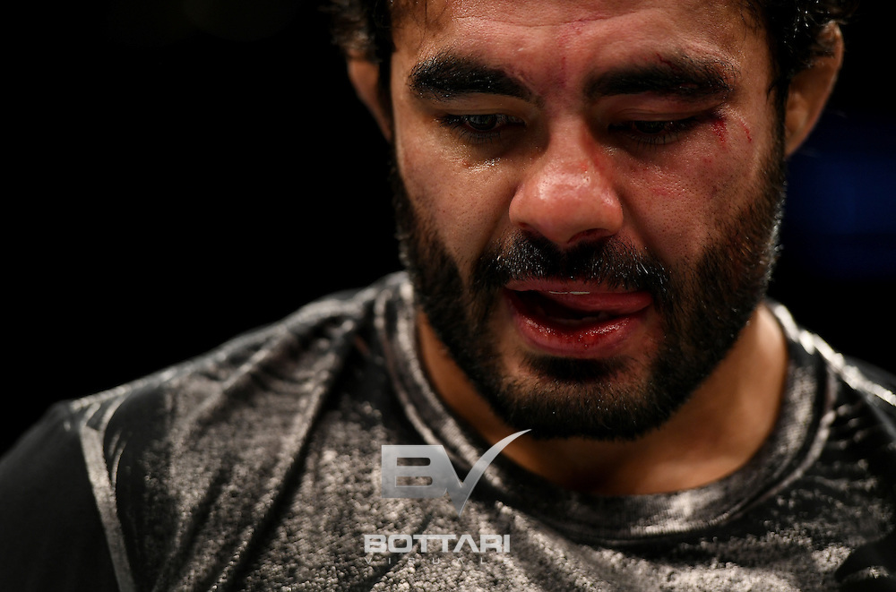 NEW YORK, NY - NOVEMBER 12:  Rafael Natal of Brazil reacts after his KO loss to Tim Boetsch of the United States (not pictured) in their middleweight bout during the UFC 205 event at Madison Square Garden on November 12, 2016 in New York City.  (Photo by Jeff Bottari/Zuffa LLC/Zuffa LLC via Getty Images)